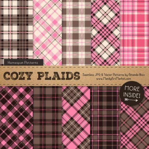 Pink & Brown Cozy Plaid Patterns