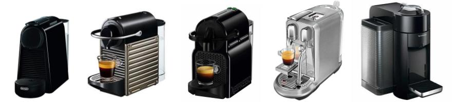 Five models of Nespresso machines lined up