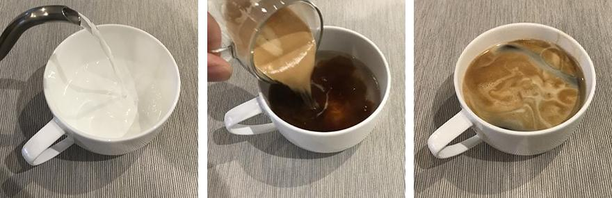 Three images showing the three steps of making a long black coffee