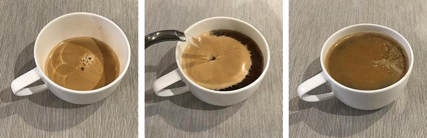 Three images showing the steps in making an Americano