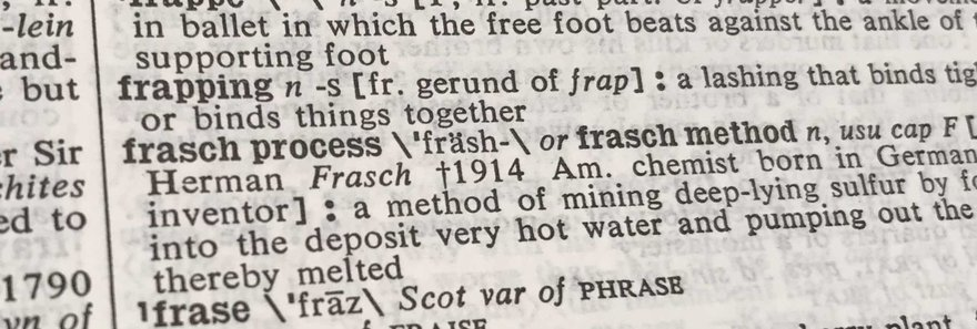 An empty dictionary entry where Frappuccino should be