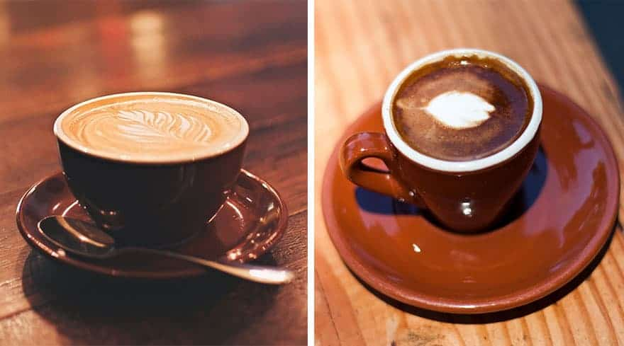 A flat white coffee on the left and a caffe macchiato on the right.