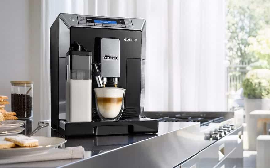 DeLonghi Eletta bean to cup coffee machine on a counter
