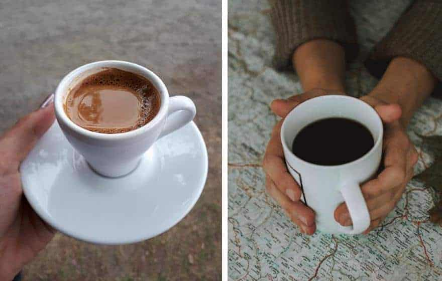 Split image of a cup of espresso on the left and a regular cup of coffee on the right.