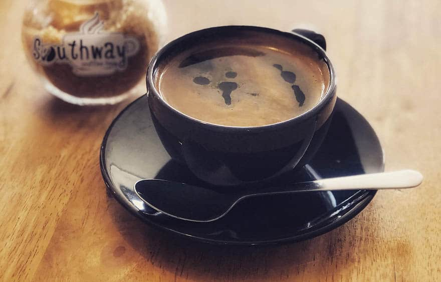 Long black coffee with crema on top