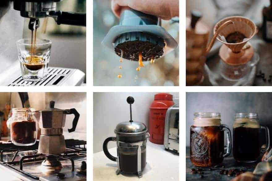 Collage image of six different coffee brewing methods