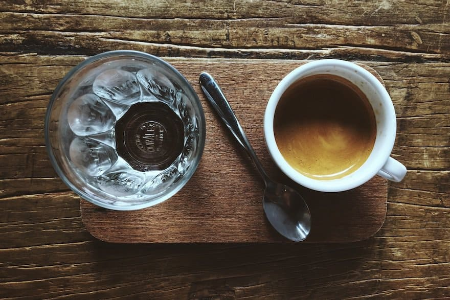Water is a standard accompaniment for espresso when you order it in Italy.