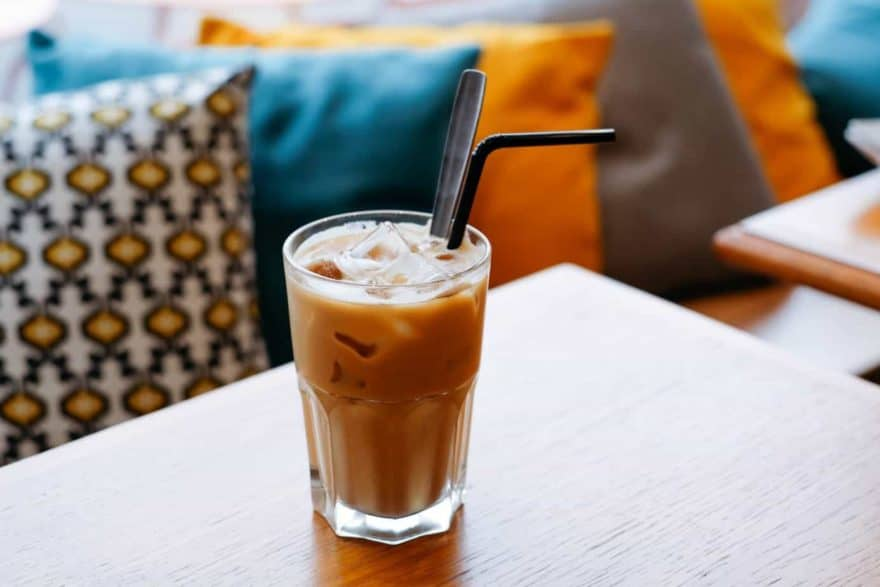 Glass of iced coffee on a table