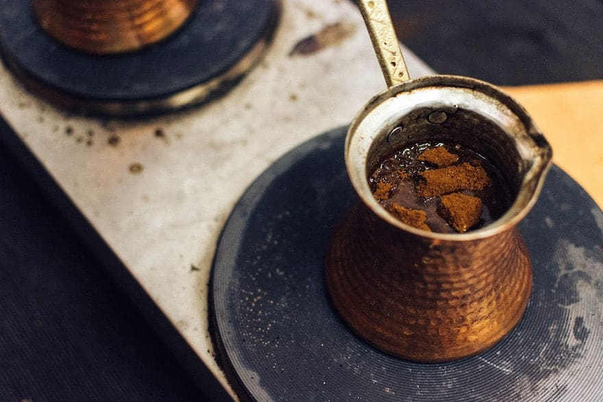 Turkish coffee on a stove