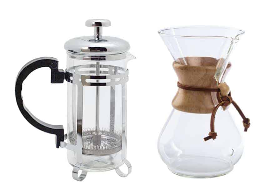 A French press and a Chemex against a white background.