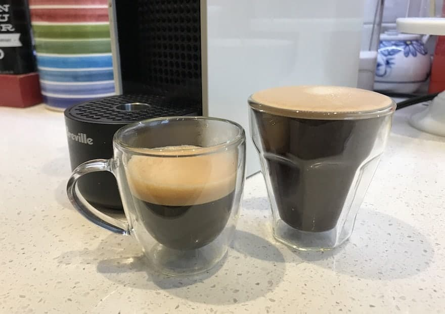 Espresso and long espresso side by side on the counter