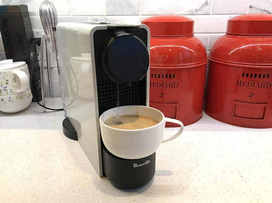 Nespresso Essenza Mini brewing an Americano
