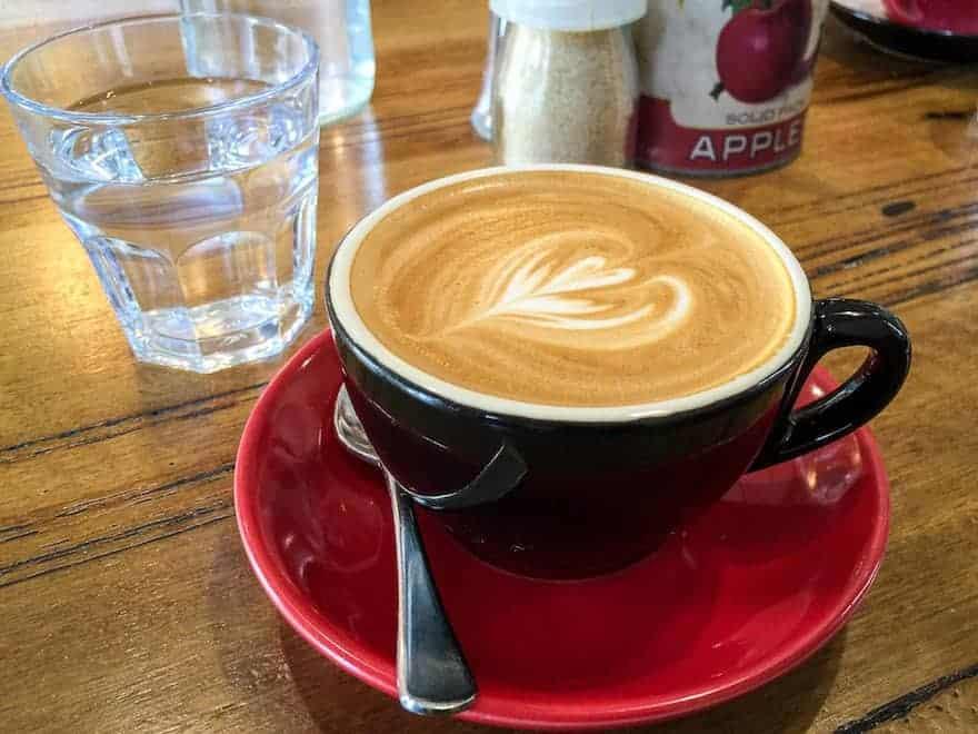A flat white coffee
