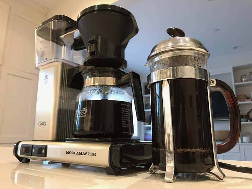Drip coffee on the left and French press coffee on the right