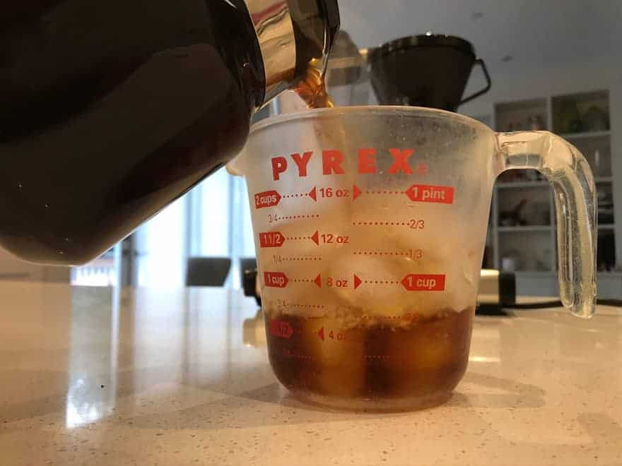 Make sure you don't use a thin glass container, because hot coffee could crack it.