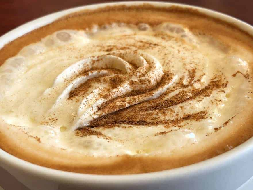Top of a caffe mocha with whipped cream