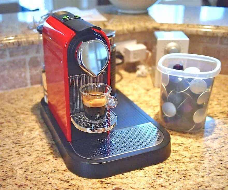 Nespresso Citiz machine pouring a shot of espresso