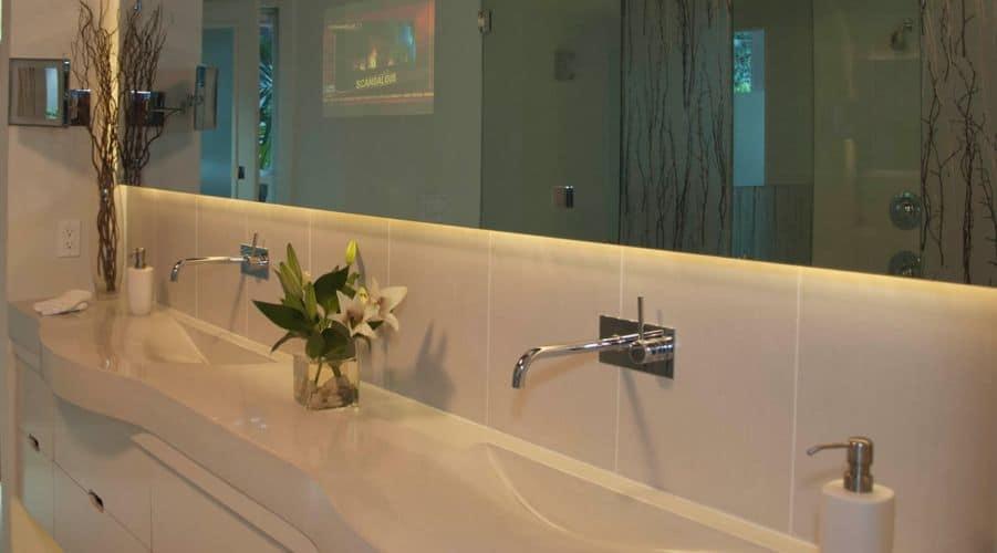 Beautiful Concrete Sink with Teardrop Shaped Sinks