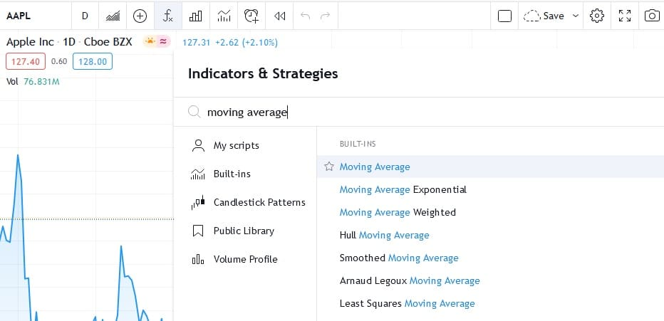 how to set moving average in tradingview