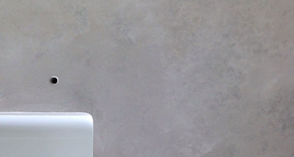 Detail shot of a trowel finish concrete countertop