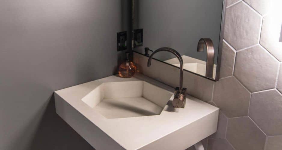 White Concrete Sink Hexagon