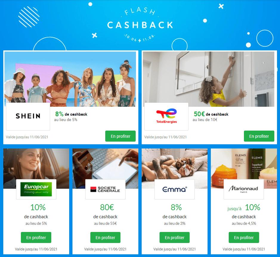 Flash CashBack iGraal - S23 - SheIn-TotalEnergies-Marionnaud-EuropCar-Emma