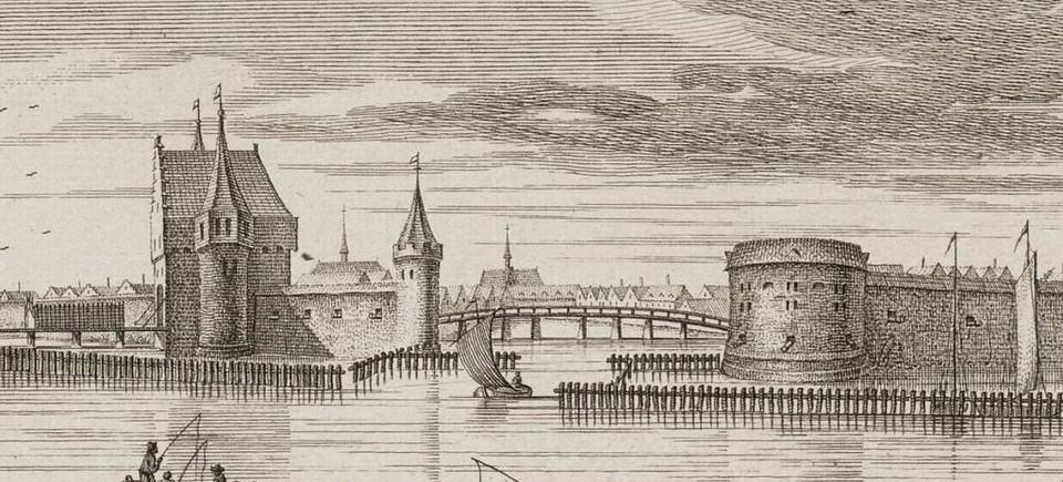 De Reguliers-Poort, de Roodebrug en het Halfrond. 1544