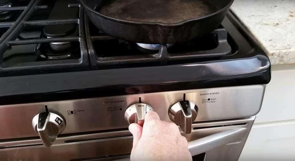 Turning stove to medium heat
