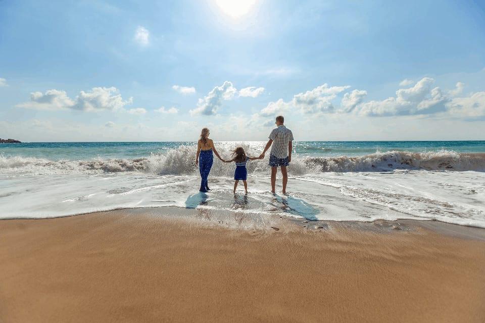 Family beach stock