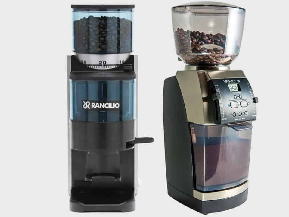 Split image of the Rancilio Rocky coffee grinder on left and Baratza Vario on right