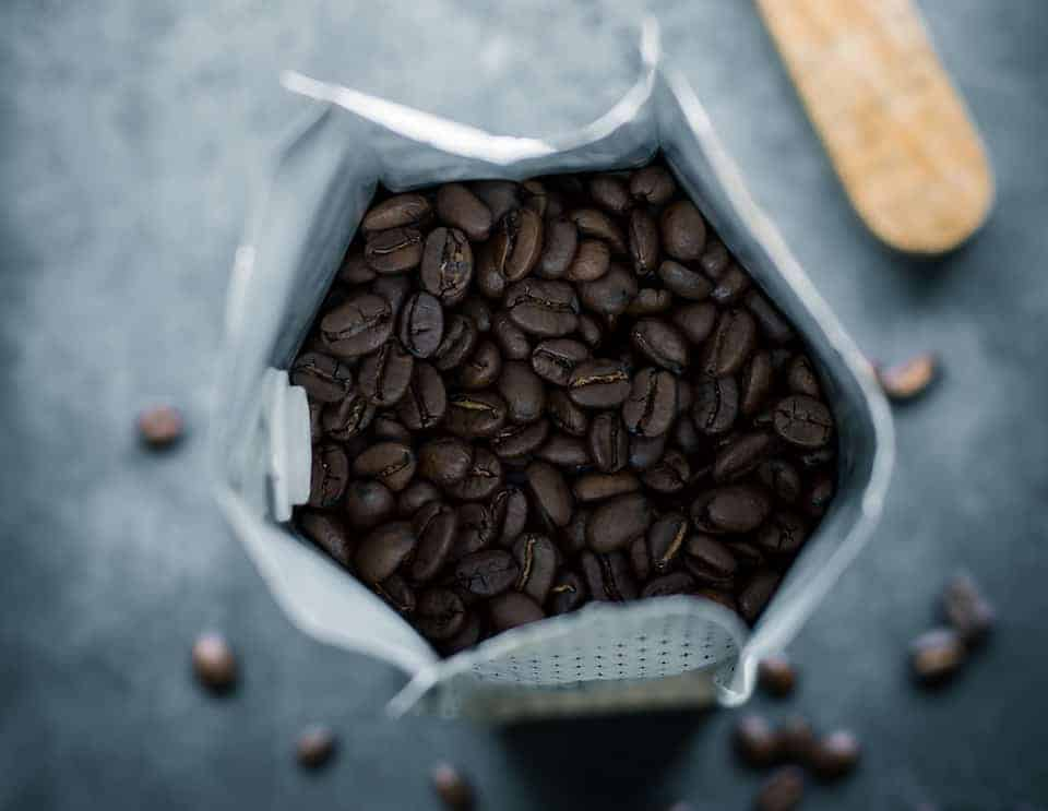 Bag of whole coffee beans