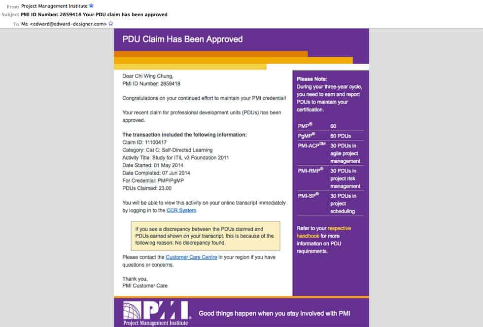 PDU Claim has been approved