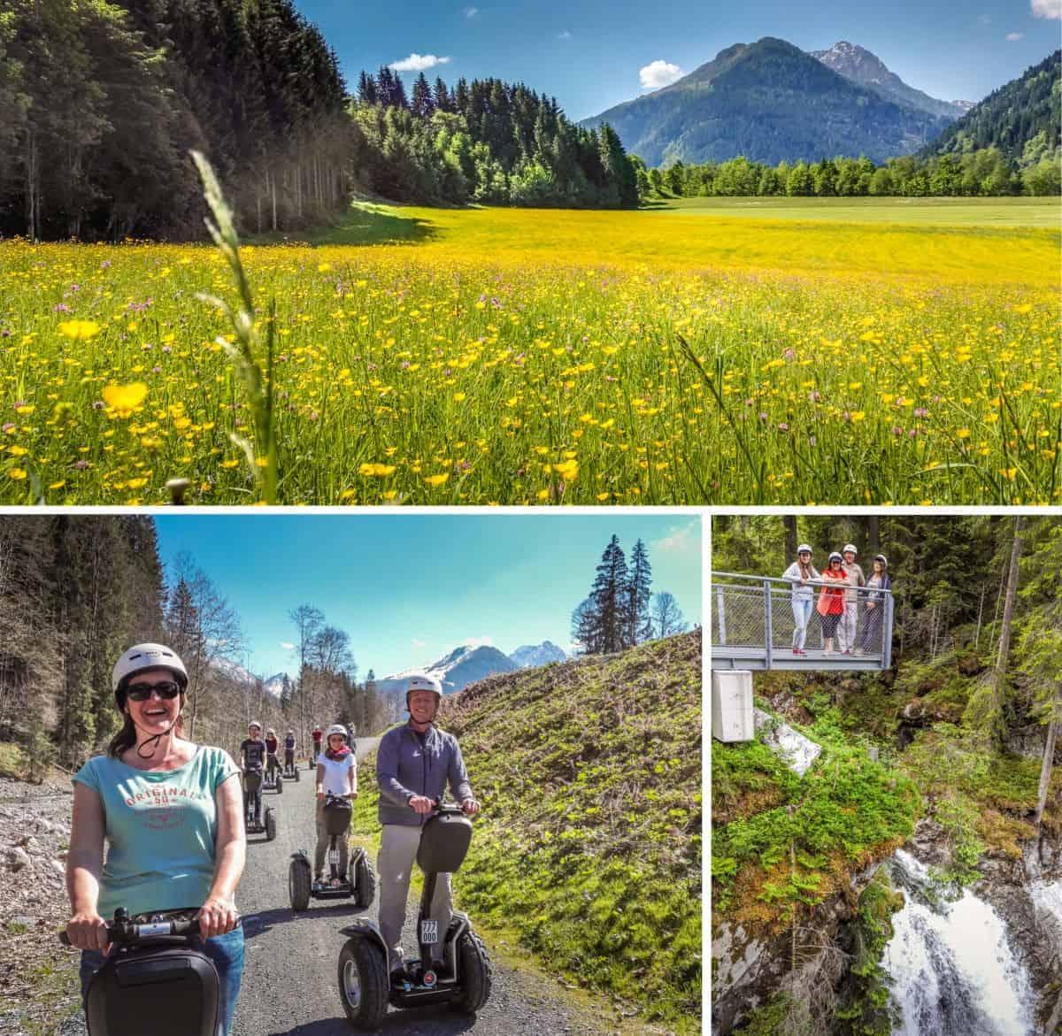 Segway Fahrer und blühende Wiesen mit Wasserfall