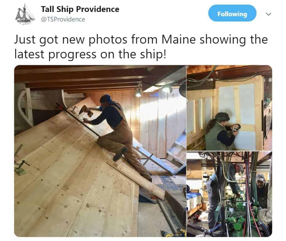 The Tall Ship Providence Foundation has been documenting the ship's progress on social media.