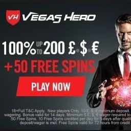 Vegas Hero Casino 50 free spins and $1000 welcome bonus