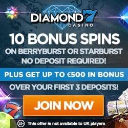 Diamon 7 Casino 10 free spins no deposit + $500 free bonus + 50 free spins