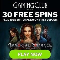 Gaming Club Casino $350 bonus and 30 free spins