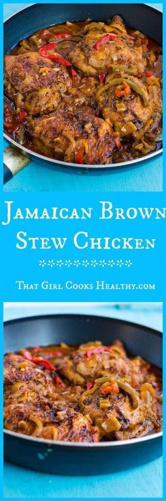 Jamaican brown stew chicken in skillet