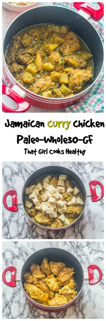 curry chicken recipe in red pot, chicken and potatoes in red pot, chicken thighs in red pot