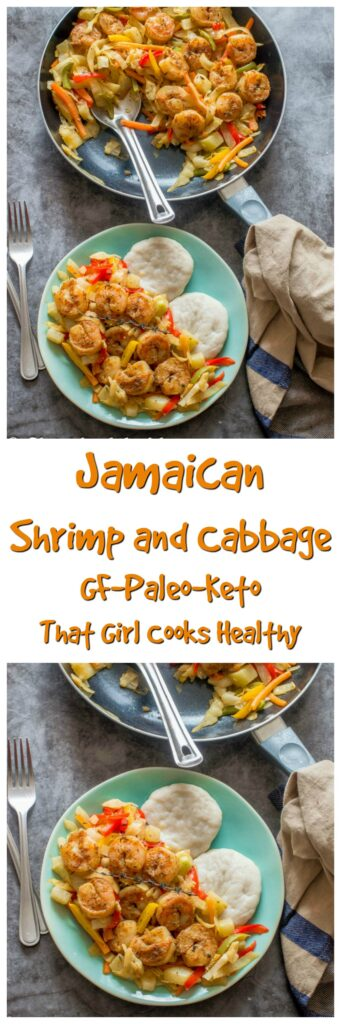 long pin of shrimp and cabbage in the skillet