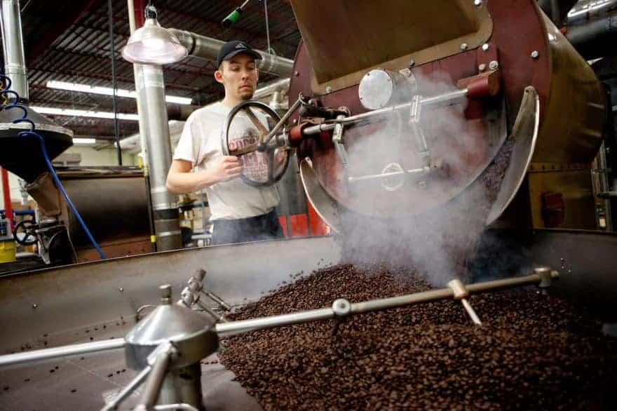 Roasting beans at Saltspring Coffee