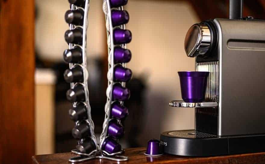 A Nespresso CitiZ machine with capsules at the ready.