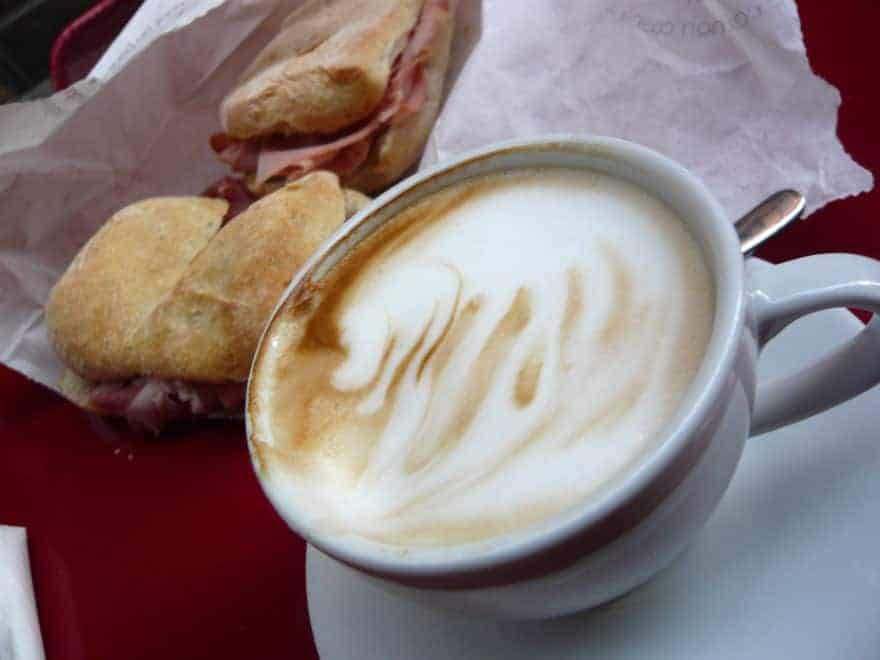 A typical Italian breakfast.
