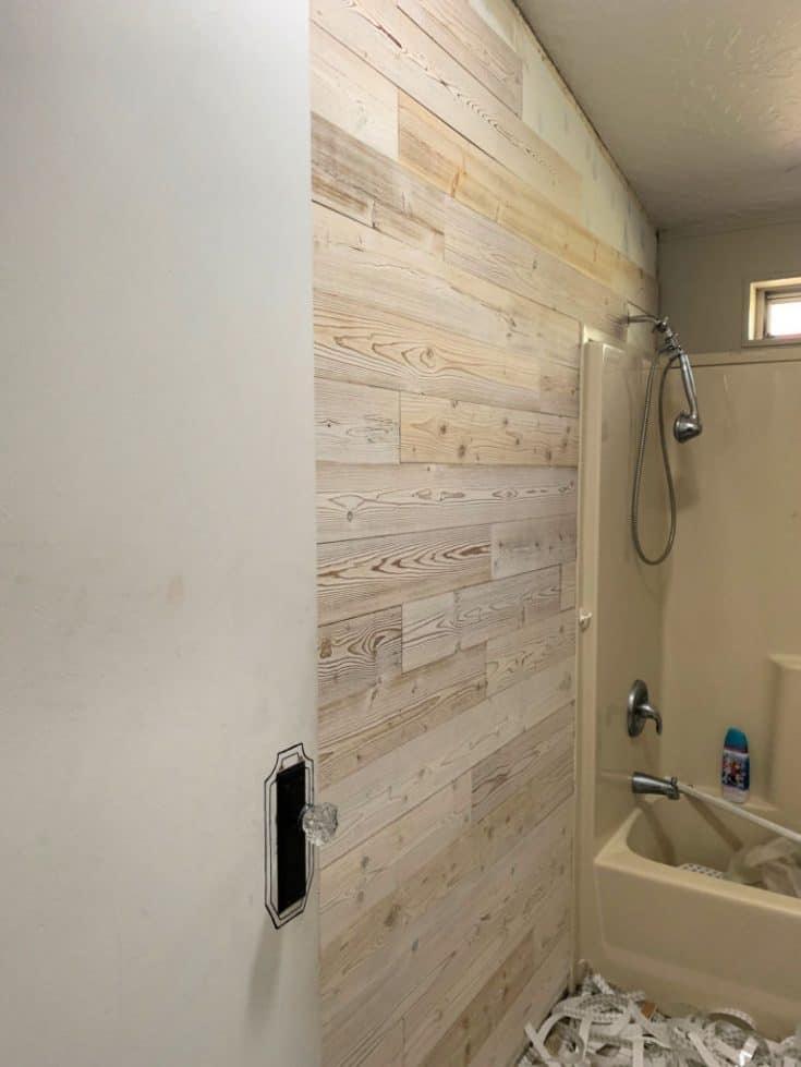 wood plank wall in bathroom