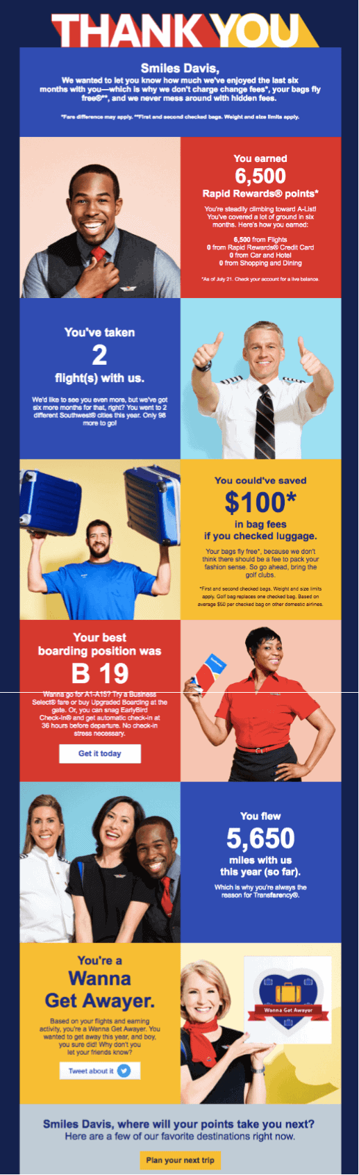 Southwest Airlines thank you message example from Really Good Emails.