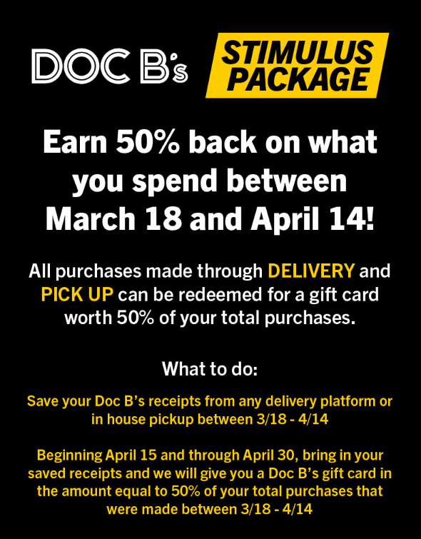 Doc B's buy now, get a gift card worth 50% of purchases later.