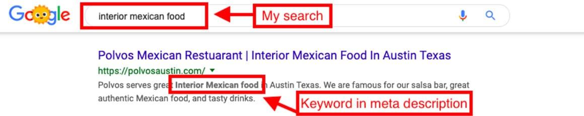 Keyword meta description example
