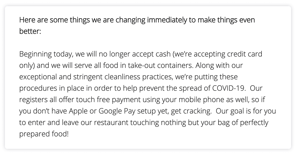 Modern Market email with information about new payment options.