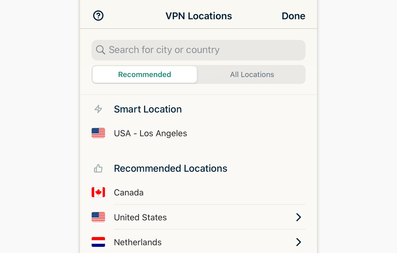 """The """"Recommended"""" tab shows you ExpressVPN's top picks for you."""