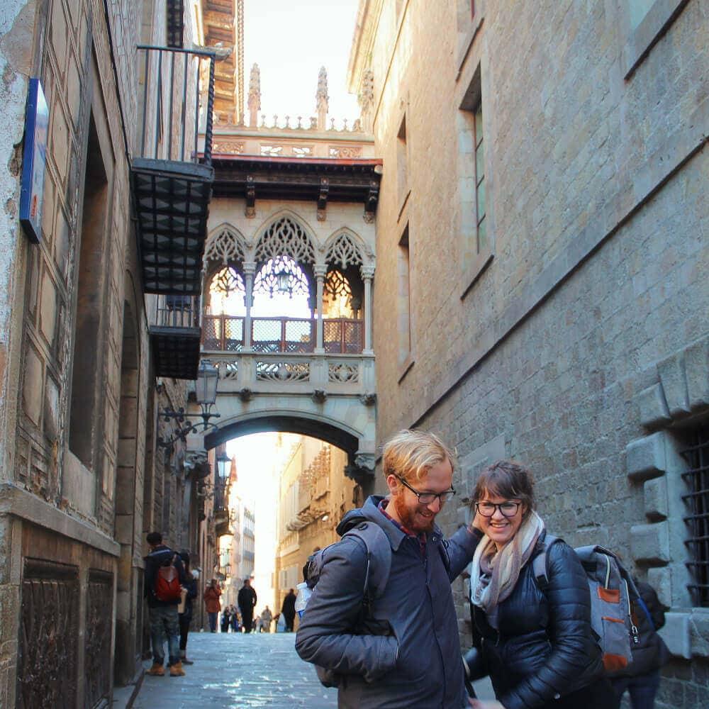 The gothic quarter in Barcelona, Spain.